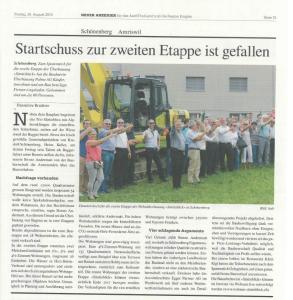 Säntisblick 1+2 - Medienbericht Neuer Anzeiger vom 26. August 2016 - Überbauung Säntisblick 1+2, Schönenberg an der Thur - Startschuss zur zweiten Bau-Etappe ist gefallen